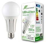 greenandco® CRI 90+ LED Lampe ersetzt 150 Watt E27 Birne matt, 24W 2050 Lumen 3000K warmweiß 270° 230V AC, flimmerfrei, nicht dimmbar, 2 Jahre Garantie