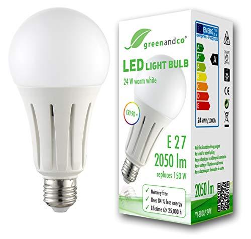 Lampadina a LED greenandco® IRC 90+ E27 24W (equivalente 150W) 2050lm 3000K (bianco caldo) 270° 230V AC, nessun sfarfallio, non dimmerabile
