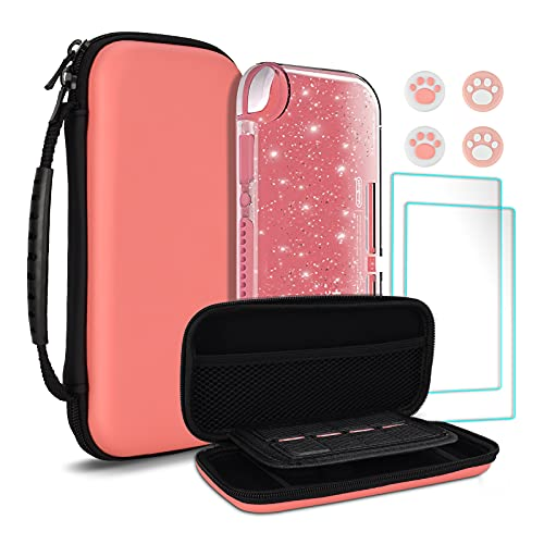 TIKOdirect Carrying Case for Nintendo Switch lite,Shockproof Portable Travel Bag with Large Storage, Glitter Galaxy case, Screen Protectors, Cute Cat Claw Thumb Grips Caps,Pink