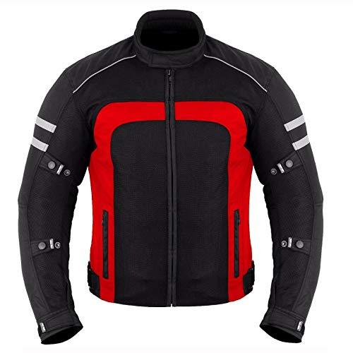 PROFIRST Motorrad-Sommerjacke für heißes Wetter, Cordura-Gewebe, CE-geprüft, Schwarz Gr. XXXXXX-Large, rot
