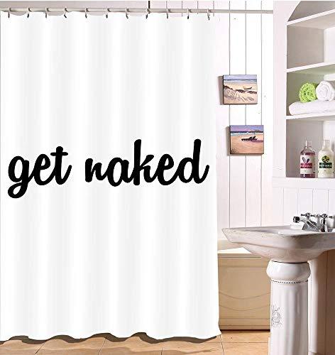 LB Schwarzer Buchstabe Get Naked Duschvorhang, Wohnkultur, Wasserdicht, Polyester Stoff, Bad Dekor Set mit Duschvorhang, 150W x180H cm, schwarz, weiß