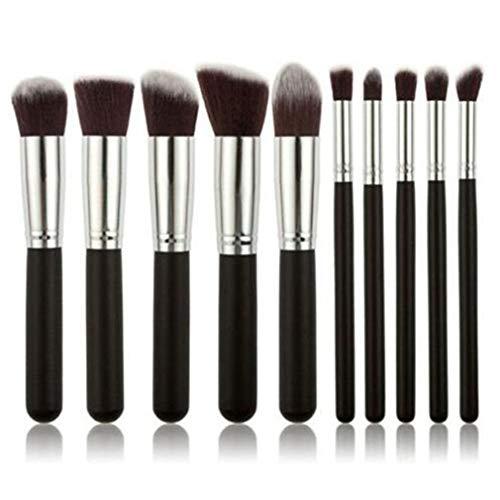 Mvude Mini pinceaux de Maquillage 10 pièces Fond de Teint Poudre Sourcils Eyeliner Blush correcteur pinceaux kit,Argent Noir