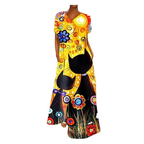 BIBOKAOKE Vestido de playa para mujer, estilo retro, vestido de verano, corto/manga larga, estilo boho, con botones, maxivestido, suelto, para tiempo libre, túnica, blusa