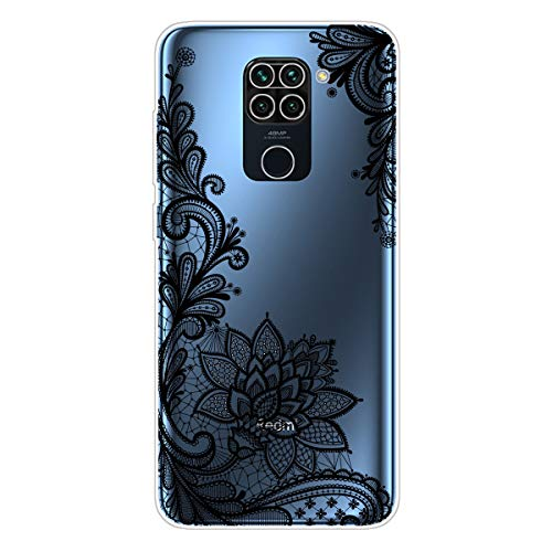 AChris Case Compatible with Redmi Note 10 Crystal Transparent Case Cover Slim in Soft TPU Silicone Shock Absorption Anti-Scratch with Pattern for Redmi Note 10, Rose