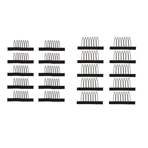 D DOLITY Lot de 20pcs Clip de Capuchon de Perruque en Acier Inox Tissu Outil de Stabilité