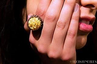 Anello di vetro - Fiori naturali secchi immortali - 20mm - Regalo Donna San Valentino - Compleanno