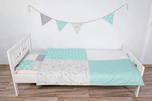 junto de ropa de cama para niño de ULLENBOOM ® safari menta (juego de 2 piezas: funda de almohada unicolor con lunares y funda nórdica)