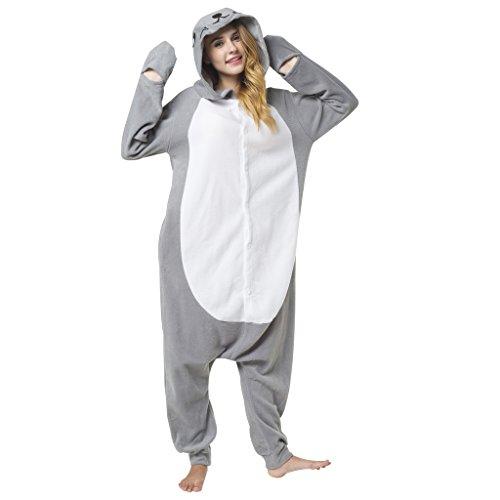 Katara 1744 - Seerobbe Kostüm-Anzug Onesie/Jumpsuit Einteiler Body für Erwachsene Damen Herren als Pyjama oder Schlafanzug Unisex - viele Verschiedene Tiere