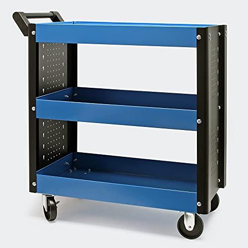 Werkstattwagen mit 3 Etagen Handgriff, Kunststoffreifen und Bremsen Ablageflächen mit erhöhtem Rand