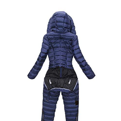 HIUGHJ Einteiliger Skianzug Damen Daunenoverall Berg Skianzug Warmer Winter Skijacke Hose Atmungsaktive Schneejacken, rot, XL