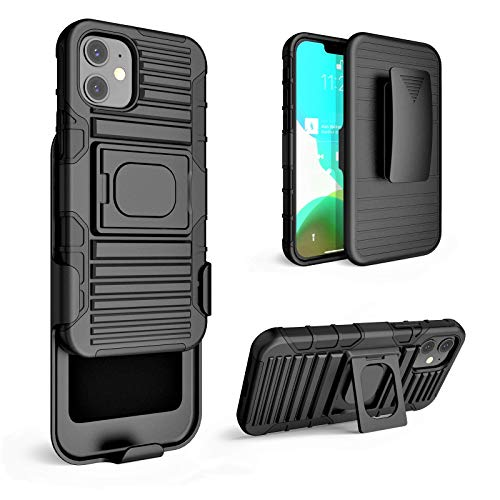 """Stronden Holster Case for iPhone 12 Mini (5.4"""") - Belt Clip Case, Holster Combo Shell Slim Case with Belt Swivel Clip and Built in Kickstand for iPhone 12 Mini (Black)"""