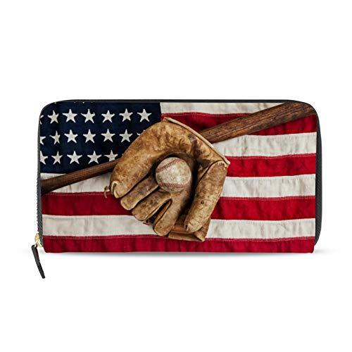 iRoad Geldbörse Leder Clutch, USA-Flagge, Baseball-Handschuh, Kreditkartenhalter, Münzfach, personalisierte Geldbörsen für Frauen und Mädchen
