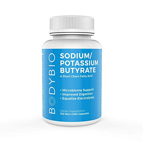 BodyBio Butyrate with Sodium & Potassium - Supports Healthy Digestion, Gut & Microbiome - Increases Leptin Production for Appetite Control - No Fillers or Additives - 100 Capsules
