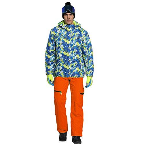 Lvguang Erwachsene und Kinder wasserdichte Berg-Skijacke Winddichte Warme Reisejacke mit Mehreren Taschen & Skihosen (Orange#3, Asia(M) L)