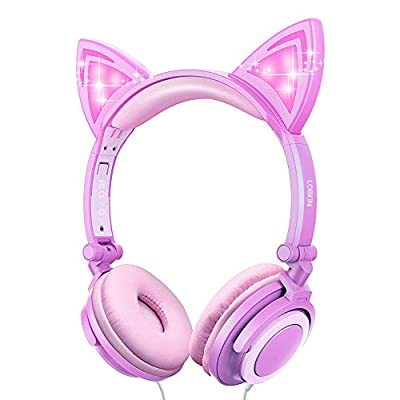 Kids Headphones with Cat Ear,Lobkin Wired Headphones Over Ear for Children,Foldable Headphone with Glowing Light for Kindle Fire, Samsung, iPad Tablets (purple) from LOBKIN