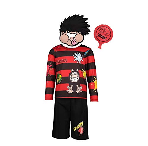 U.T Officially licensed Dennis the Menace fancy dress Halloween costume with Mask & Whoopee Cushion Ages 7-8 Years