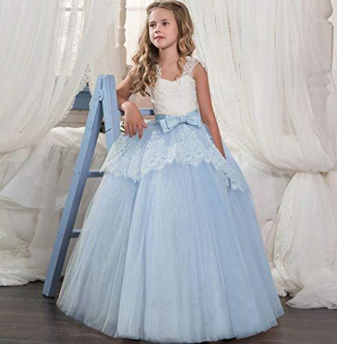 SMACO Kind-Mädchen-Lange Spitze-Blumen-Partei-Ballkleid-Abschlussball-Kleider Kind-Mädchen-Prinzessin-Hochzeit Kinder Erstkommunion Kleid,C,160CM