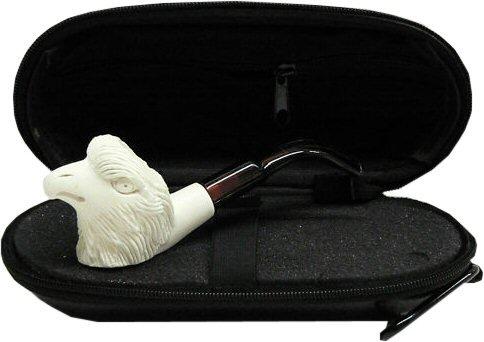 Miniature Meerschaum Pipe - EAGLE w/Zippered Hard Cover Case