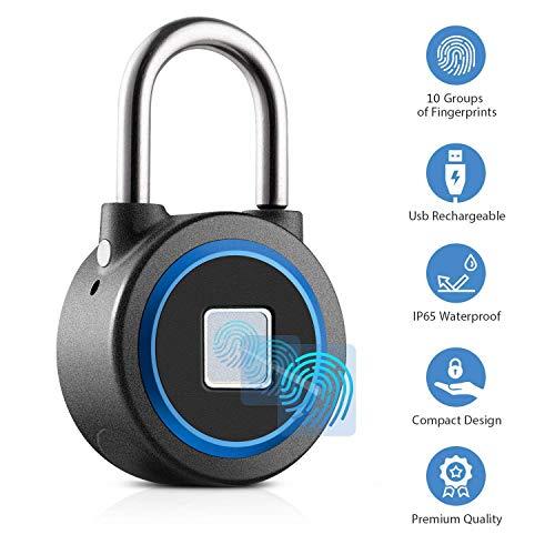B&H-ERX vingerafdruk hangslot vingerafdruk Bluetooth hangslot USB Oplaadbare IP65 Waterdicht Ideaal voor Locker, Handtassen, Golftassen, Kledingkasten, Gym,Deur, Bagage, Suitcase, Rugzak, Fiets, Kantoor