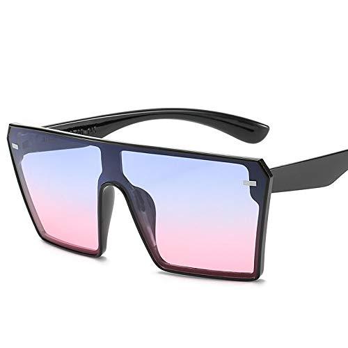 Astemdhj Gafas de Sol Sunglasses Gafas De Sol Cuadradas De Gran Tamaño para Mujer, Moda De Lujo, Parte Superior Plana, Rojo, Negro, Lente Transparente, Una Pieza para Hombre, EspeAnti-UV