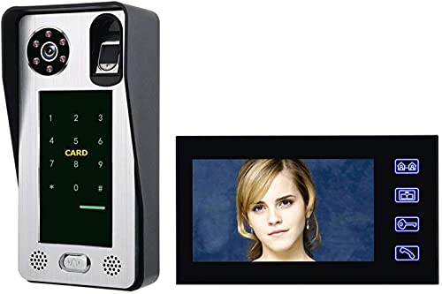 DZCGTP Video Videoportero con Cable de 7 Pulgadas Videoportero Visual Intercomunicador de Audio bidireccional IC de Huellas Dactilares con cámara IR Impermeable para Exteriores