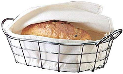 Oval Metal Wire Bread Box, Fruit Basket For Baguette, Sourdough, Food | Pantry Basket, Kitchen Storage and Counter Display | Restaurant Quality Metal Basket With Cover Material Insert.