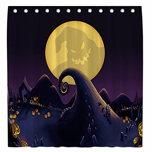 Allenjoy 183 x 183 cm Duschvorhang Halloween vor Weihnachten für Badezimmer Sets Home Bad Decor Trick or Treat Dekorationen anpassbar Durable Wasserdicht Stoff maschinenwaschbar mit 12 Haken