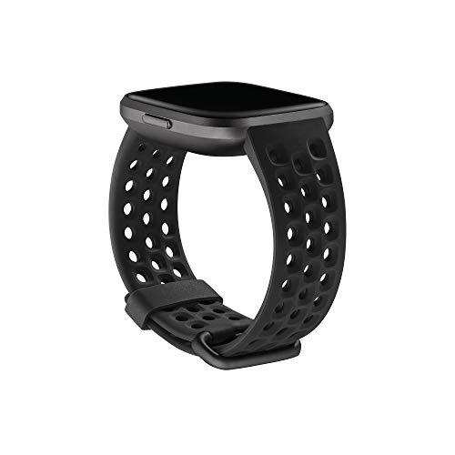 Sport-Zubehörarmband für Fitbit Versa 2, Schwarz, Groß