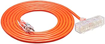 AmazonBasics 15 Foot Outdoor Extension Cord with Lighted 3 Outlets