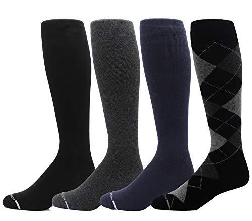4 pares de calcetines de compresión para hombre Dr. Motion 8-15 Mmhg graduado de apoyo hasta la rodilla, Multi 3 sólido 1 patrón, Large