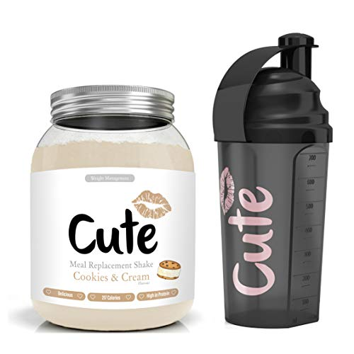 Cute Nutrition Cookies & Cream Meal Replacement Shake for Weight Loss Control 500g tub with Black 700ml Shaker BPA Free