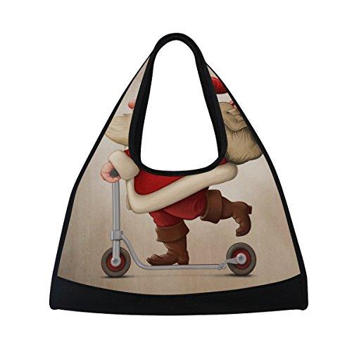 TIZORAX Santa Claus und der Push Scooter Duffle Reisetasche Sport Gym Bag Umhängetasche