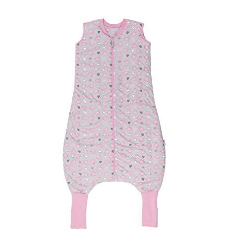 Schlummersack Schlafsack mit Füßen Sommer 1 Tog 100 cm dünn Elefanten rosa | Kinder Schlafsack mit Beinen und verlängerten Bündchen für eine Körpergröße 100-110cm | Schlummersack mit Füßen 1 Tog