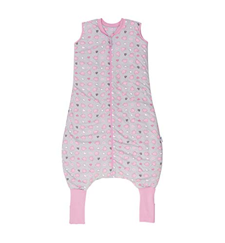 Schlummersack slaapzak met benen voor het hele jaar variant met verlengde manchetten om te klappen in 2,5 tog - roze olifanten - 110 cm