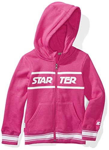 Starter Girls' Zip-Up Logo Hoodie, Amazon Exclusive, Power Pink with Striped Rib, L (10/12)