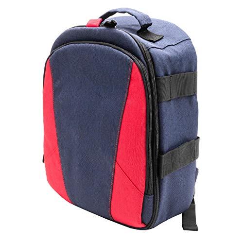 vhbw zaino compatibile con Canon EOS Kiss X7i, Rebel T1i, Rebel T3i fotocamera; poliestere, blu scuro/grigio chiaro/rosso