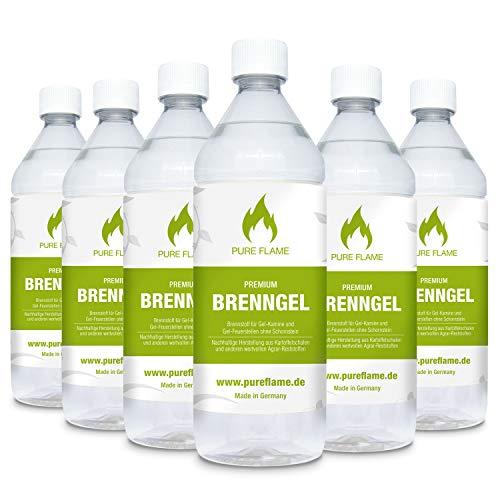 6 x 1L Brenngel für Gel Kamine & Gel Feuerstellen - Hergestellt aus TÜV-geprüften Premium Bio-Ethanol 96,6% Vol. - 6 Liter in 1L Flaschen zum handlichen & sicheren Gebrauch - Made in Germany!!!