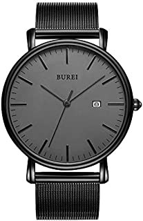 BUREI Reloj de pulsera minimalista de moda para hombre con fecha analógica con malla de acero inoxidable y correa de cuero