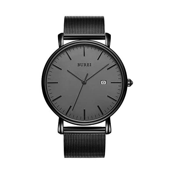 BUREI Men's Watch Ultra Thin Quartz Analog Wrist Watch Date Calendar Stainless Steel Mesh Band
