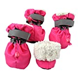 royalwise Pet Dog Boots Christmas Faux Fur Lined Anti-Slip for Medium Large Dogs (X-Large) Rose