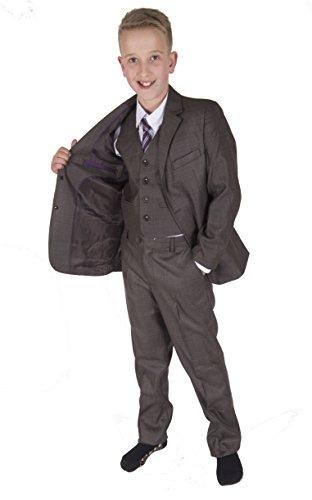 Cinda 5 Stück Grau Boy Anzüge Hochzeit Anzug Junge Seite Partei-Abschlussball -Klagen Braun grau 128-134