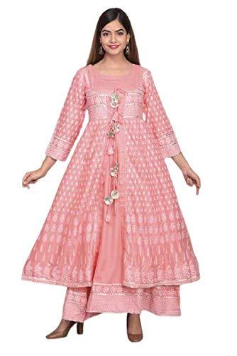 AADVISOUL Women's Straight Anarkali Long Kurta Gown with Jacket for Girls (X-Large, Pink)