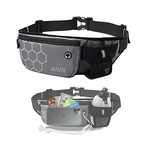 Running Belt Waist Pack with Water Bottle Holder Fanny Pack for Men Women Runners Waist Belt Bag for Hiking Fitness Travel - Waterproof Reflective Adjustable Running Pouch Belt Fits Phones (Gray)