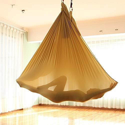 Aerial Yoga Hammock Indoor- und Outdoor Dual-Purpose Abgehängte Beginners Elastic Installations Straps Seil Größe: 32 * 22 * 15cm Ingxijie1ha QiuGe (Color : Gold)