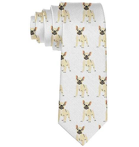 Anna-Shop Accesorio de disfraces para hombres Premium elegante Bulldog francés Corbata encantadora Novedad de moda Longitud estándar Corbata para fiesta de graduación Cena Boda
