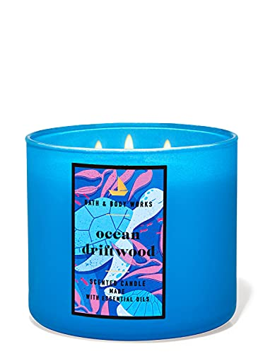 Bath & Body Works, White Barn 3-Wick Candle w/Essential Oils - 14.5 oz - 2021 Summer Collection! (Ocean Driftwood)