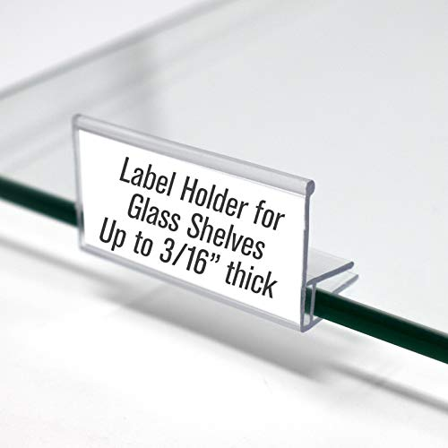 Glass Shelf Sign Holder, Clear Label Clip for Glass Shelving up to 3/16' Thick 2' L x .9' H, 50 Pack