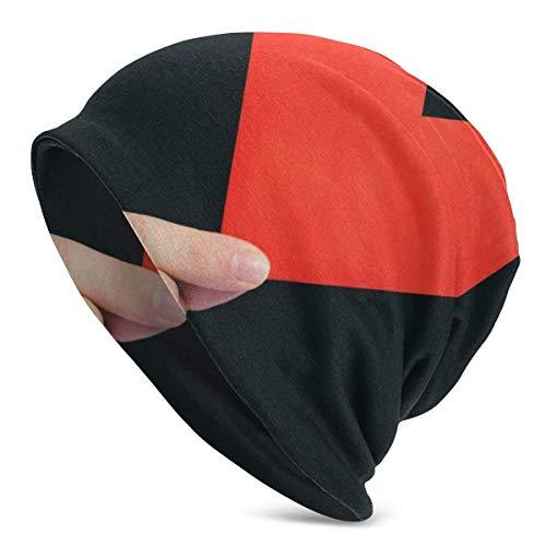 Sombrero de Punto Unisex para Adultos, Gorro de Mano con patrón de diseño de corazón de Origami Sombrero de Moda Sombrero de Hip Hop Sombrero de Personalidad Negro
