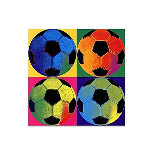 WSTDSM Pintura de fútbol de Colores Pintura de Lienzo Decorativa para el hogar Pinturas de Carteles Arte de la Pared Lienzo Fútbol Messi Posters e impresiones-24 x 24 Pulgadas x1 Sin Marco