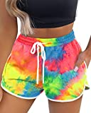Aloodor Womens Shorts Cute Tie Dye Workout Shorts with Pockets Active Shorts Blue M